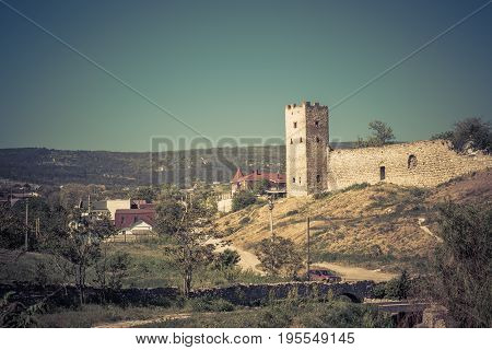 Ruins of ancient Genoese fortress in Feodosia, Crimea, Russia. Feodosia is one of the cities founded in Crimea even in the times of Antiquity.