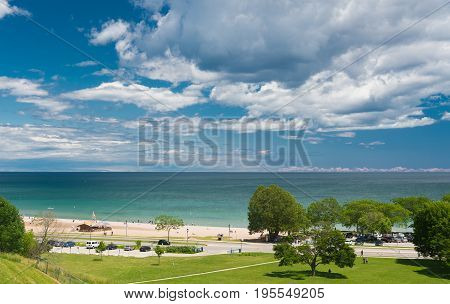 View Of A Michigan Lake From A Hill