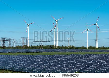Renewable energy and power grid lines seen in Germany