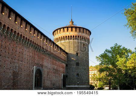 Sforza Castel (Castello Sforzesco) in Milan, Italy. This castle was built in the 15th century by Francesco Sforza Duke of Milan.