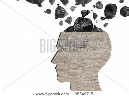 Head as wooden dustbin and falling garbage bags on white background. Garbage and pollution concept.