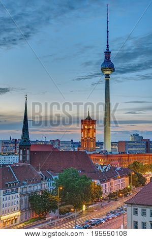 The townhall and the Television Tower in Berlin after sunset