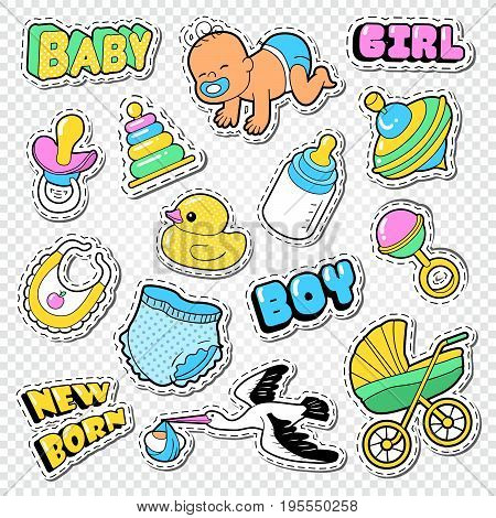 Baby Shower Doodle with Boy, Girl and Toys. Family Party Decoration Stickers. Vector illustration