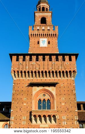 Sforza Castel (Castello Sforzesco) in Milan, Italy. The central tower (Torre del Filarete). This castle was built in the 15th century by Francesco Sforza Duke of Milan.