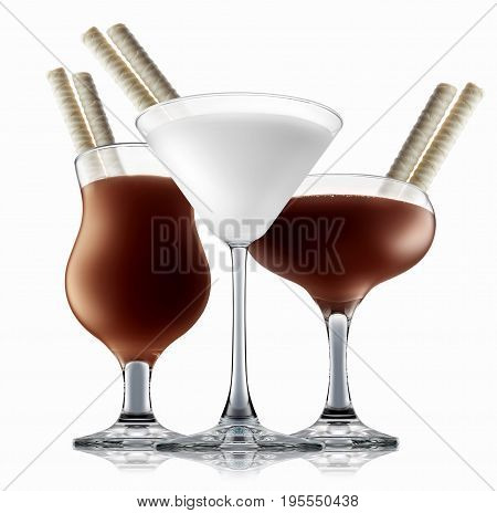 chocolate and milk cocktail set on a white with fresh summer fruits
