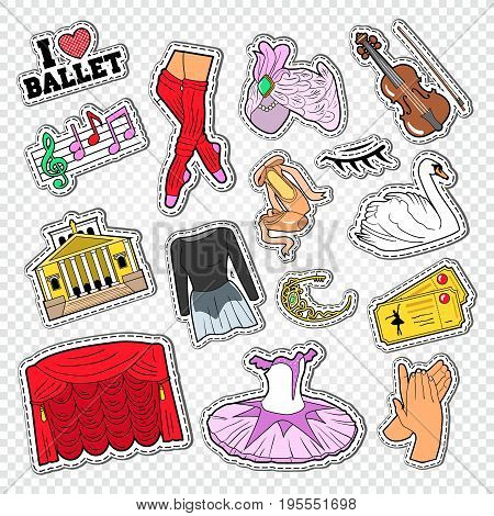 Ballet Doodle with Dance Theater Stickers, Patches and Badges. Vector illustration