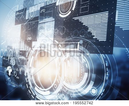 Side view of abstract digital interface on city background. Technology innovation and communication concept. Double exposure
