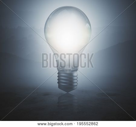 Glowing lamp on blurr gray background. Idea concept. 3D Rendering