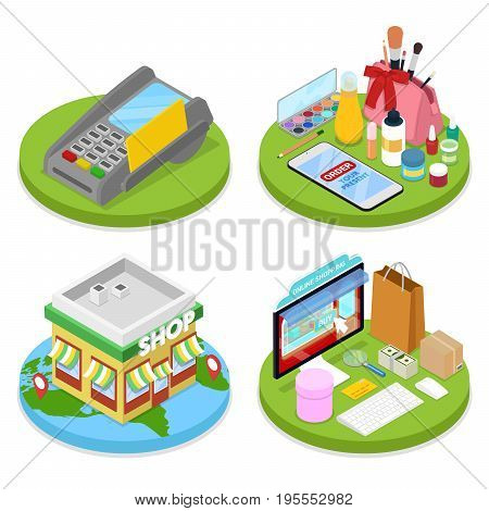 Isometric Online Shopping Concept. Mobile Payment. Internet Beauty Store. Electronic Business. Vector flat 3d illustration