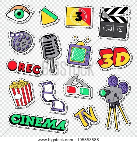 Cinema and Movie Doodle. Film Entertainment Stickers, Patches and Badges. Vector illustration