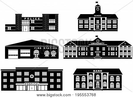 Silhouette illustration different variants of building in flat style. Fire station, police department, school, university, bank and hospital.