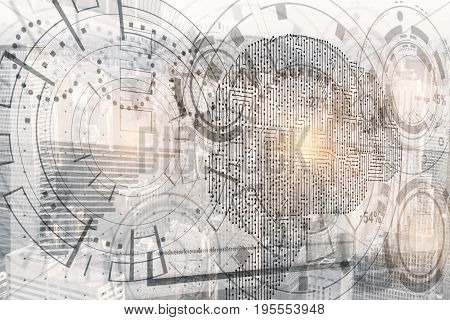 Abstract digital business hologram with cyber brain. Intellect concept. 3D Rendering