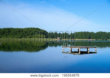 Lake at Mirow in the Mueritz National Park in  mecklenburg-western pomerania