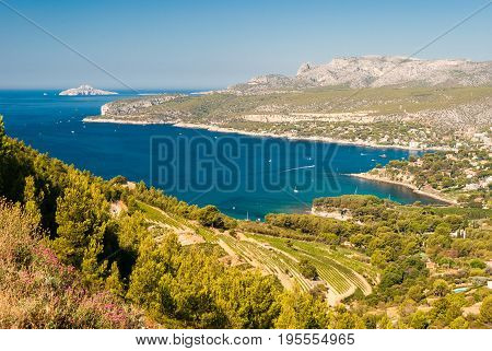Panoramic view of the coastline near Cassis seen from the Route des Cretes (Provence France)