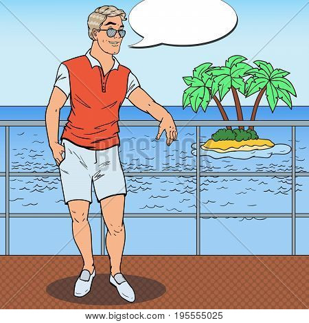 Pop Art Handsome Man Relaxing on Private Yacht. Tropical Beach Vacation. Vector illustration