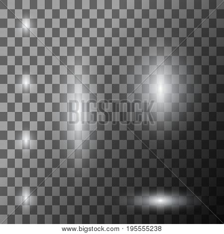 Scene illumination with cold light effect. Stage illuminated spotlight on transparent background. Vector illustration.