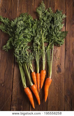A bunch of carrots. Carrots with stems. Carrots on a wooden background