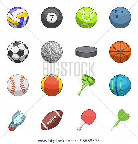 Sport balls icons set. Cartoon illustration of 16 sport balls vector icons for web