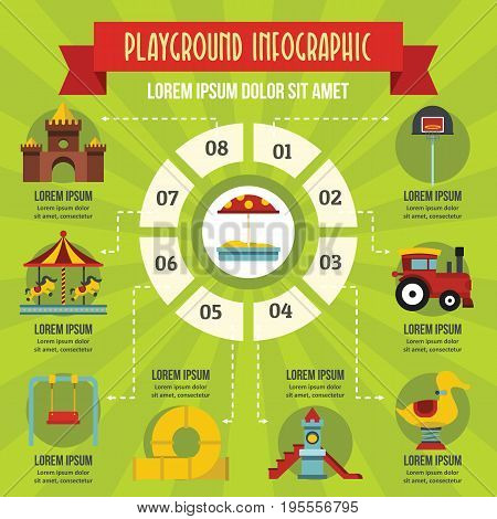 Playground infographic banner concept. Flat illustration of playground infographic vector poster concept for web