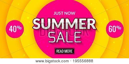 Summer sale banner design. Market discount clearance. Summer sale hot offer poster.
