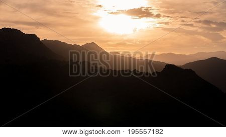 Beautiful Sunset Over Mountains In The Coachella Valley Of The Californian Desert With Copy Space