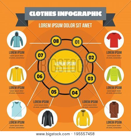 Clothes infographic banner concept. Flat illustration of clothes infographic vector poster concept for web