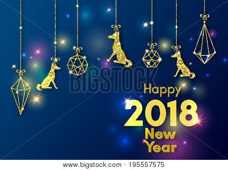 2018 chinese new year of yellow dog concept with golden vector paw track, glitter, foil texture, animal silhouette, blue background with lights, template for calendar, poster, banner, greeting card