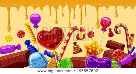 Sweets cakes horizontal banner concept line. Cartoon illustration of sweets cakes banner horizontal vector for web