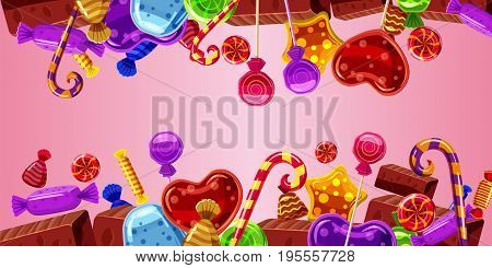 Sweets cakes horizontal banner concept pink. Cartoon illustration of sweets cakes banner horizontal vector for web