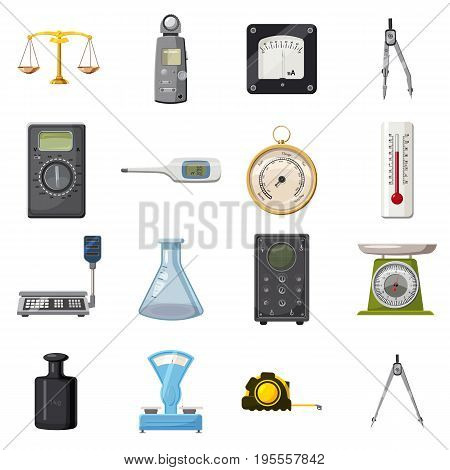 Measure precision tools icons set. Cartoon illustration of 16 measure precision toolsvector icons for web