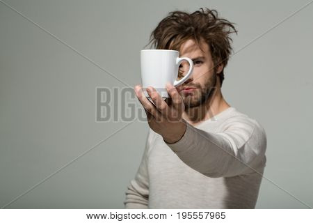 Cup Of Tea Or Coffee At Man