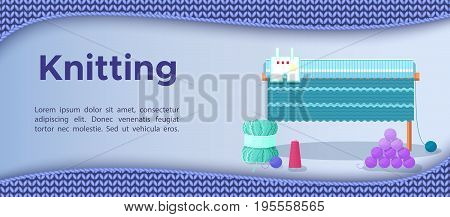 Knitting banner or flyer with wool and hobby accessories, craft icons and handmade woolen knitted pattern with blue background vector illustration