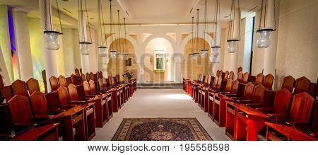 GALILEE ISRAEL - JUNE 24: Interior of the Sanctuary of the Word in Domus Galilaeae on the Mount of Beatitudes near the Sea of Galilee Israel on June 24 2017