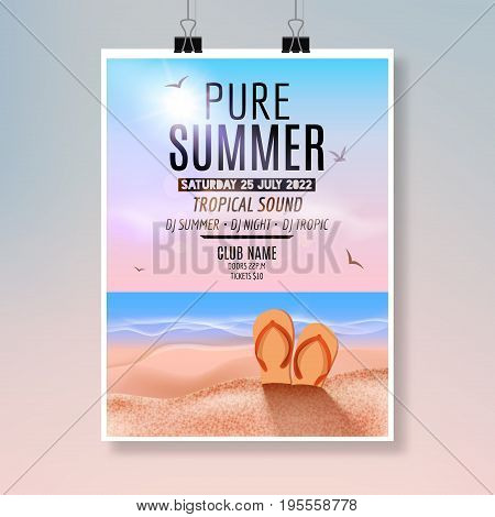 Tropic pure Summer Beach Party Flyer design. Poster summer vacation template.