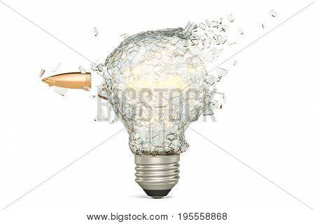 Bullet braking a light bulb 3D rendering isolated on white background