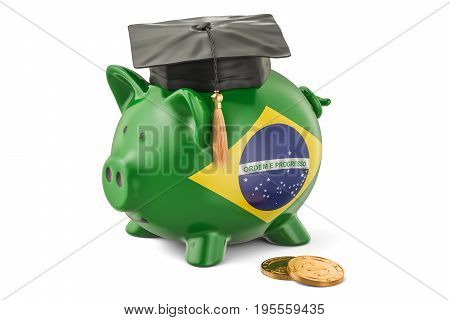 Savings for education in Brazil concept 3D rendering isolated on white background