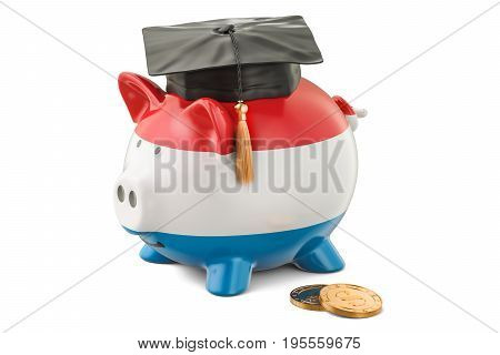 Savings for education in Luxembourg concept 3D rendering isolated on white background