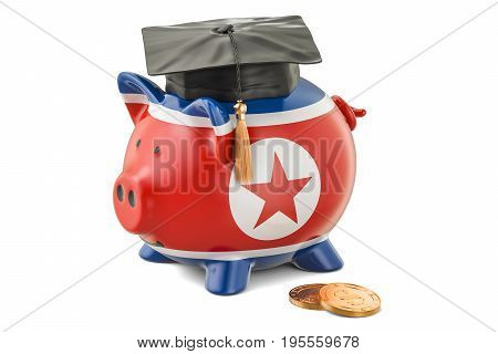 Savings for education in North Korea concept 3D rendering isolated on white background