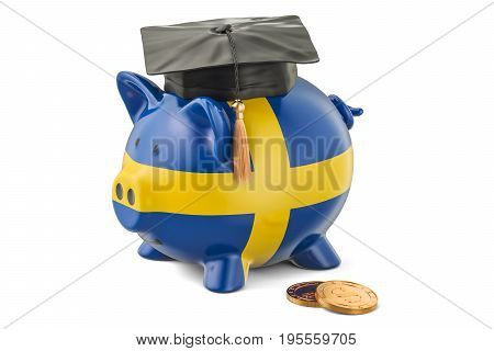 Savings for education in Sweden concept 3D rendering isolated on white background