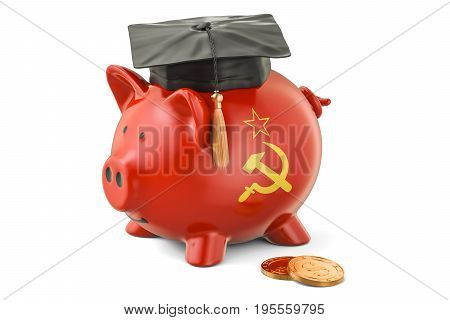 Savings for education in USSR concept 3D rendering isolated on white background