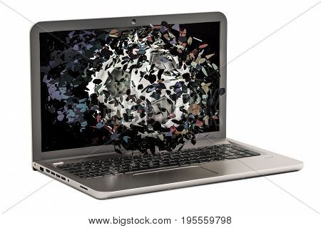 Soccer ball flying through broken monitor of laptop 3D rendering isolated on white background