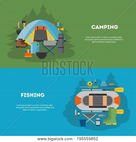 Vector set in flat design. Summer horizontal banners with equipment for camping and fishing. For Web sites, print and applications, vector illustration