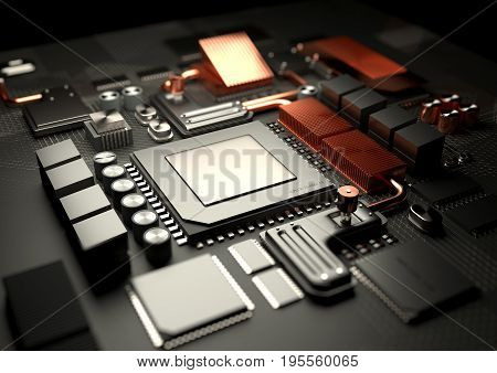 Modern Technology background.A close look at a computer CPU on a motherboard server. 3D illustration render.
