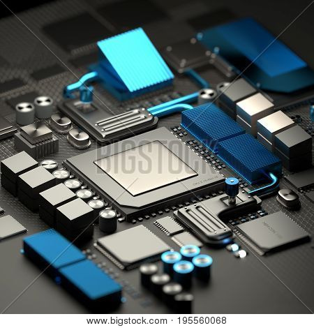 Modern inner workings of mobile devices and computers with micro CPU processor and motherboard with RAM chips. Technology background. 3D illustration render