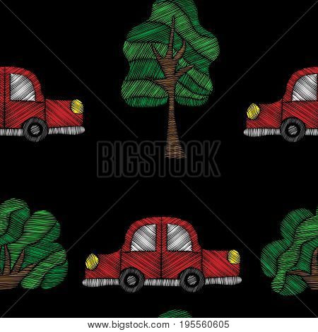 Seamless pattern with red car and tree embroidery stitches imitation. Embroidery background for child with car and tree. Embroidery red car seamless pattern.
