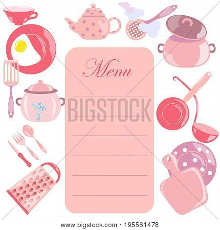 Menu Leaf with Pink Color Glossy Utensils around it. Vector EPS 10