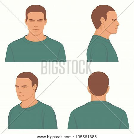 vector man hairstyle ,front, side, profile view of head character