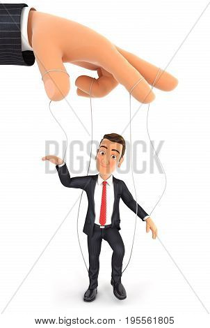 3d businessman puppet concept illustration with isolated white background