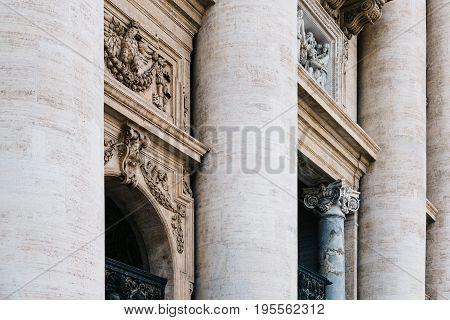 Rome Italy - August 19 2016: Detail of facade of the Basilica of St Peter. The Papal Basilica is an Italian Renaissance church in Vatican City the papal enclave within the city of Rome.