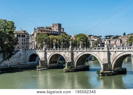 Rome Italy - August 20 2016: Bridge of Castel Sant Angelo. The Mausoleum of Hadrian usually known as Castel Sant'Angelo is a towering cylindrical building in Rome